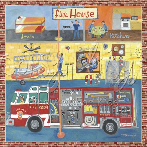 Firehouse Canvas Wall Art | Fire truck room, Truck room and Room