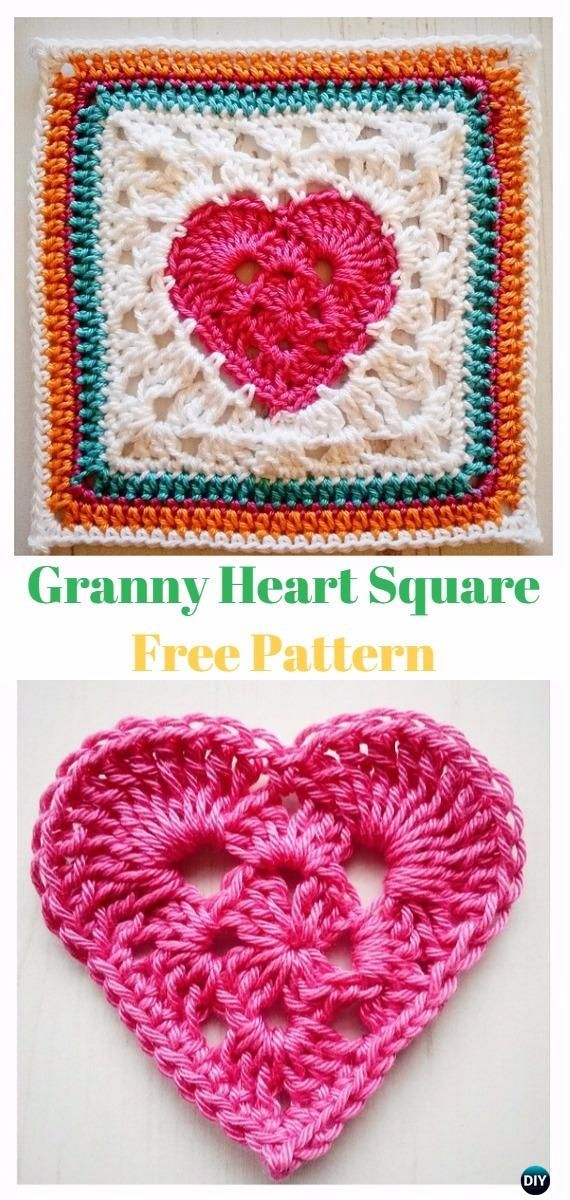 Crochet Heart Granny Square Free Patterns Tutorials Crochet