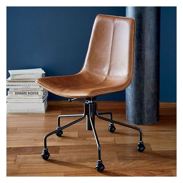 saddle office chair west elm purple velvet uk slope leather old nut 475 aud liked on polyvore featuring home furniture chairs