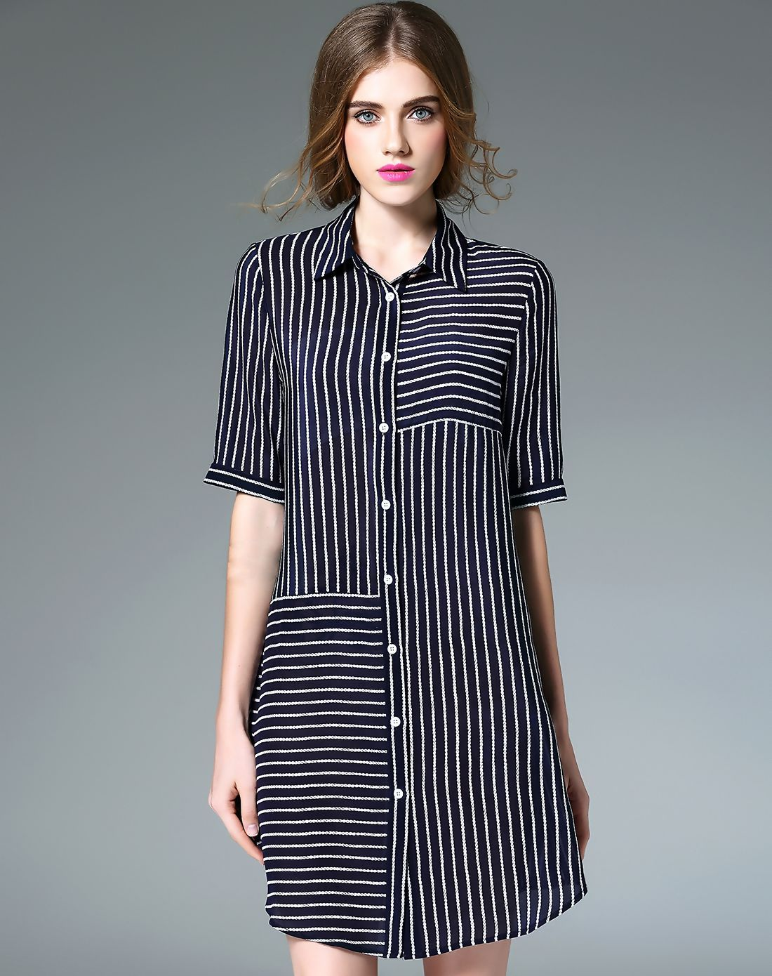 d9e2f759c67cf #AdoreWe #VIPme Shirt Dresses - Designer Fantiow Dark Blue Silk Striped  Mini Shirt Dress - AdoreWe.com