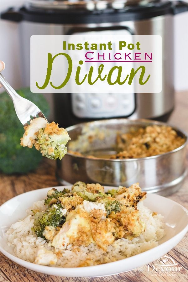 Chicken Divan and Rice is a warm and delicious dinner that can please the whole family. With a rich and creamy sauce, fresh broccoli and cheese- it's hard NOT to like it! This Chicken Divan Recipe made quick and easy in the pressure cooker / Instant Pot is a one pot meal with easy clean up made in under 30 minutes. #devourdinner #easyrecipe #instantpot #instantpotrecipes #pressurecooker #dinner #chicken #chickendivan #recipes #recipe #Food #foodie #recipeoftheday #easydinner #familyfavorite ...