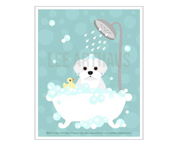 166d Dog Prints Maltese Dog In Bubble Bath Wall Art Etsy Bath Wall Art Etsy Wall Art Bathroom Art