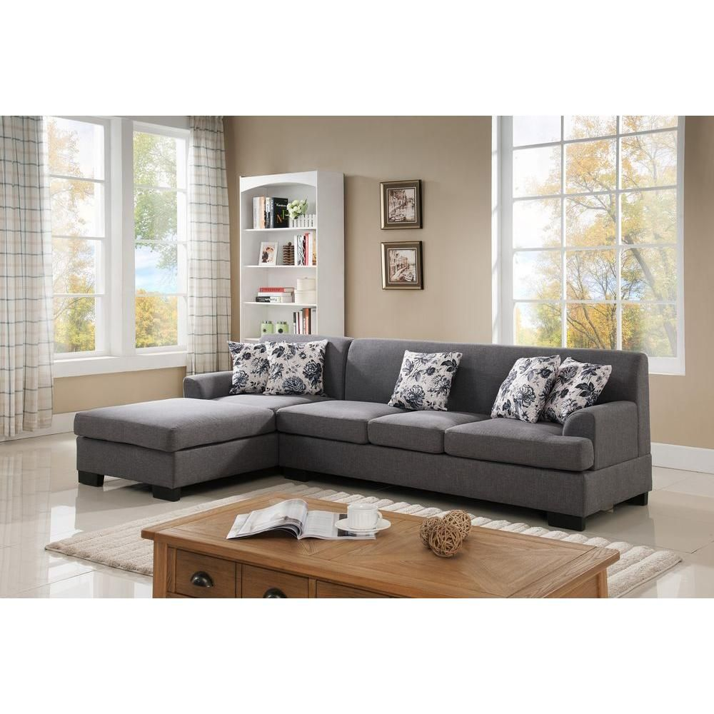 2-Piece Grey Linen Sectional in 2019 | Products | Sectional ...