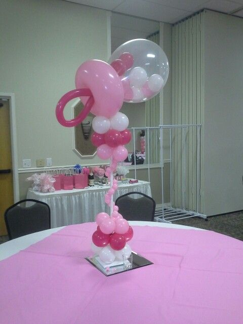 Balloon rattle centerpiece by balloons elite baby shower