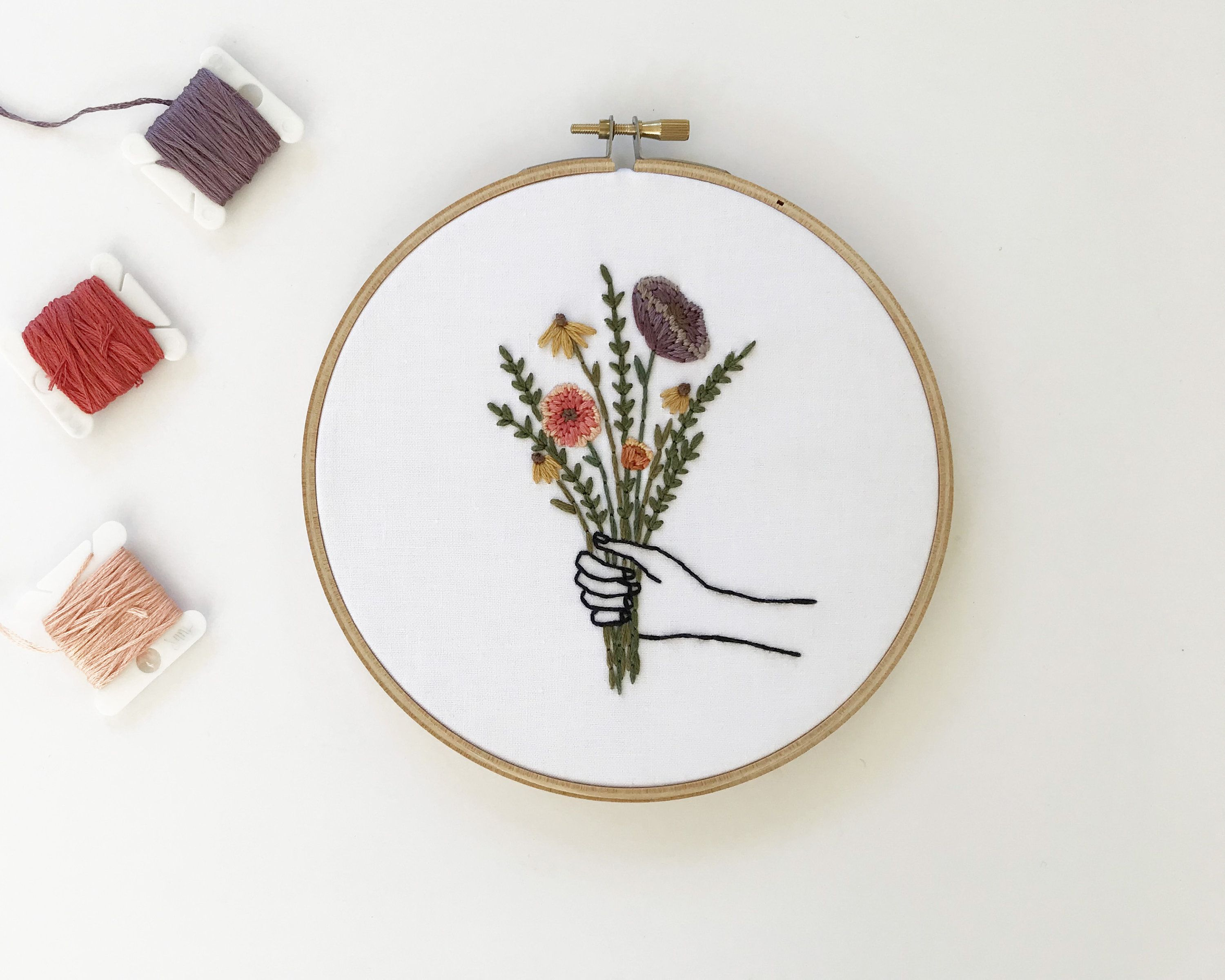 Floral Bouquet Embroidery // Flower Embroidery Hoop // Made to ...