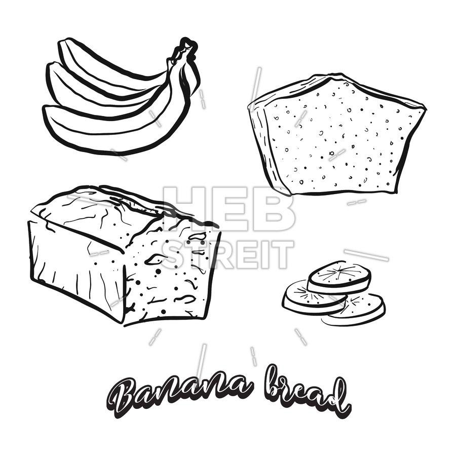Hand drawn sketch of Banana bread