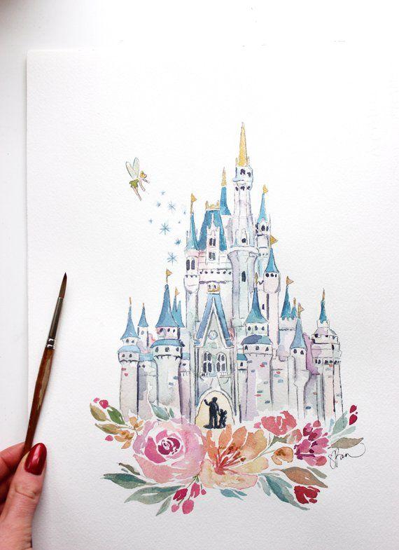 Photo of Disneyworld Castle Aquarelldruck, Disney Castle, Princess Castle mit Aquarellblumen