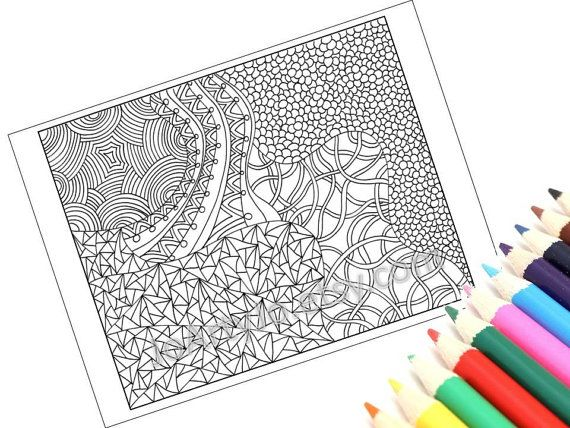 Coloring Page, Printable Zentangle Inspired, PDF Zendoodle ...