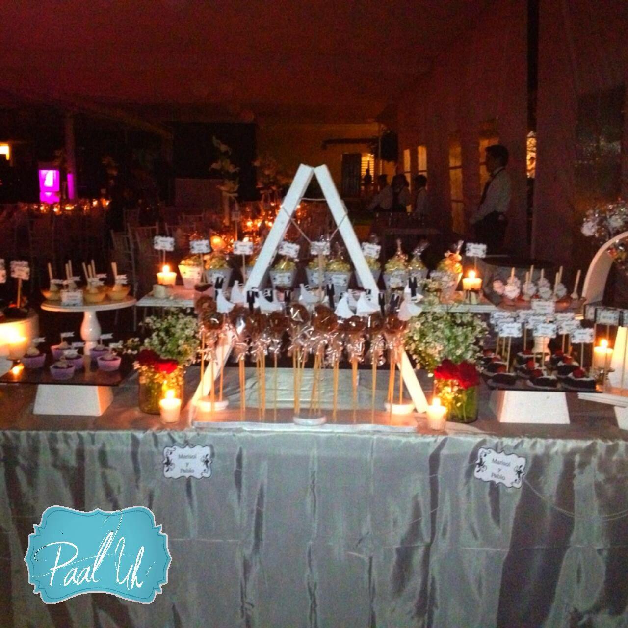 Paal uh mesas de postres snack 39 s boda dulces - Mesa de dulces para boda ...