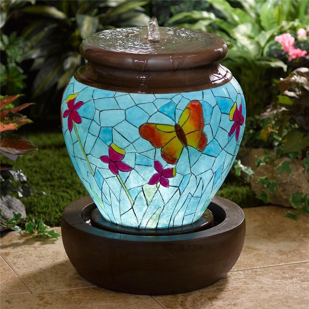 BEAUTIFUL LIGHTED BUTTERFLY FOUNTAIN Outdoor Lighted Garden Water Feature