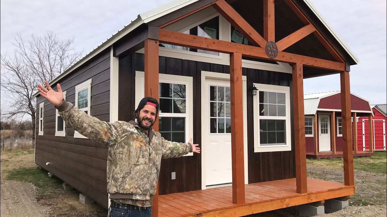Finished Shed To House And More Lone Star Youtube Backyard Guest Houses Guest House Shed Shed To Tiny House
