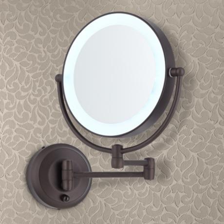 Cordless Led Pivoting Bronze Wall Mount Mirror 3k726 Lamps Plus Wall Mounted Mirror Wall Mounted Vanity Round Mirror Bathroom