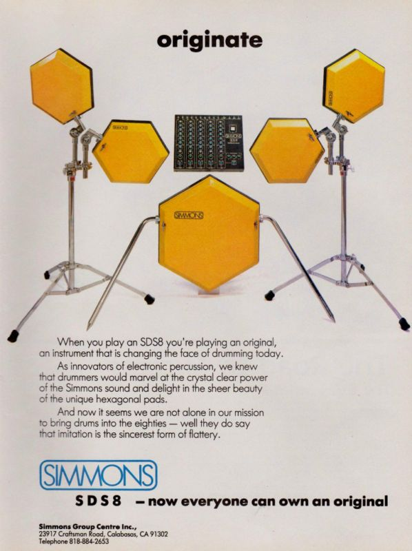 1985 Simmons Sds8 Electronic Percussion Drum Print Ad Percussion Drums Drums Vintage Drums