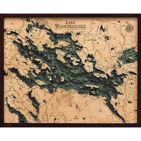 Lake Winnipesaukee 3D Nautical Wood Maps