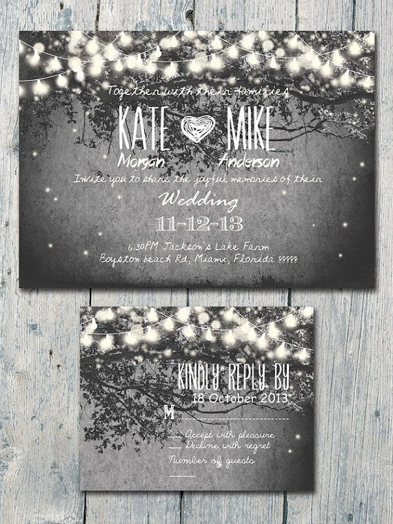 romantic garden and night light wedding invitation and reply card