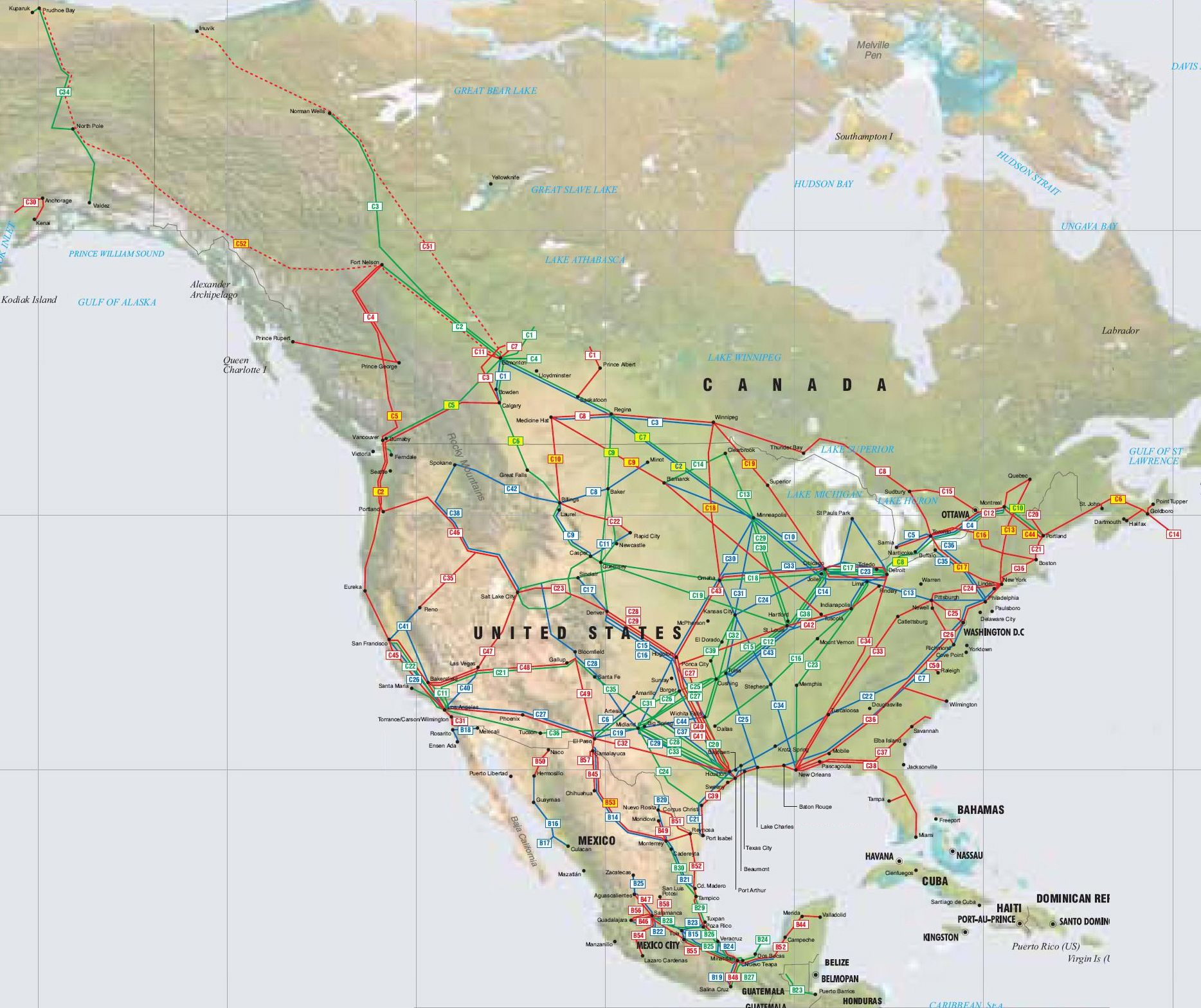 North America oil gas and products pipelines map on map to