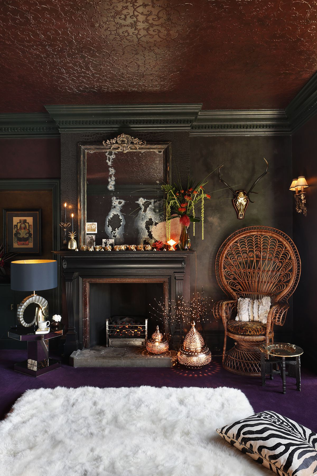 This richly decorated living room expertly combines texture and tribal chic urbanglamourlivingroom urbanglamourinteriors urbanglamourdecor also inside  glamorous dramatic manor house apartment in berkshire rh pinterest
