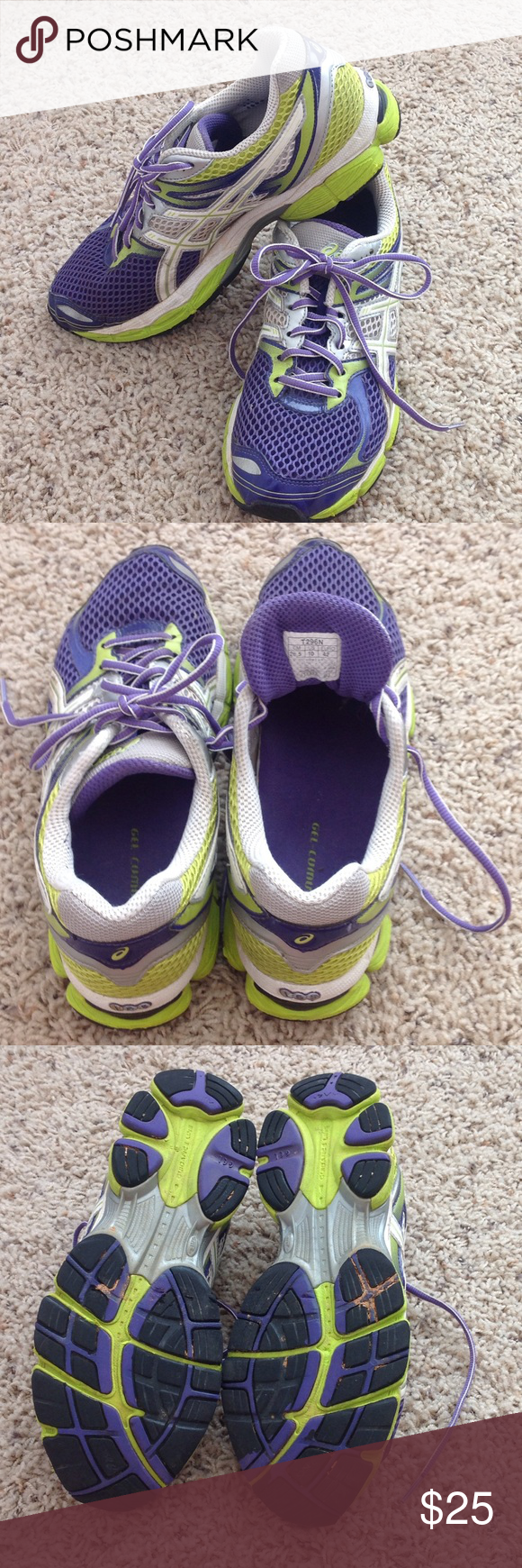 Ladies athletic shoes Asics gel cumulus running shoes. Lovingly worn. purple with green and white accents Asics Shoes Athletic Shoes