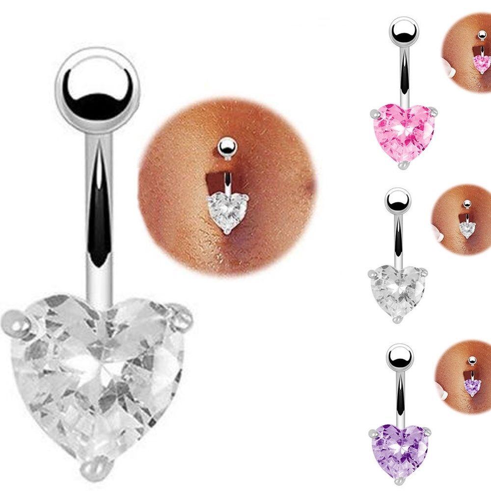 Body piercing jewelry  Navel Ring Belly Rhinestone Button Bar Heart Star Body Piercing