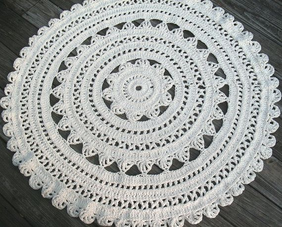"""Soft Ecru Off White Cotton Crochet Rug in Large 41"""" Circle"""