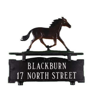 Montague Metal Products Two Line Mailbox Address Sign with Horse Finish: Gold Bronze