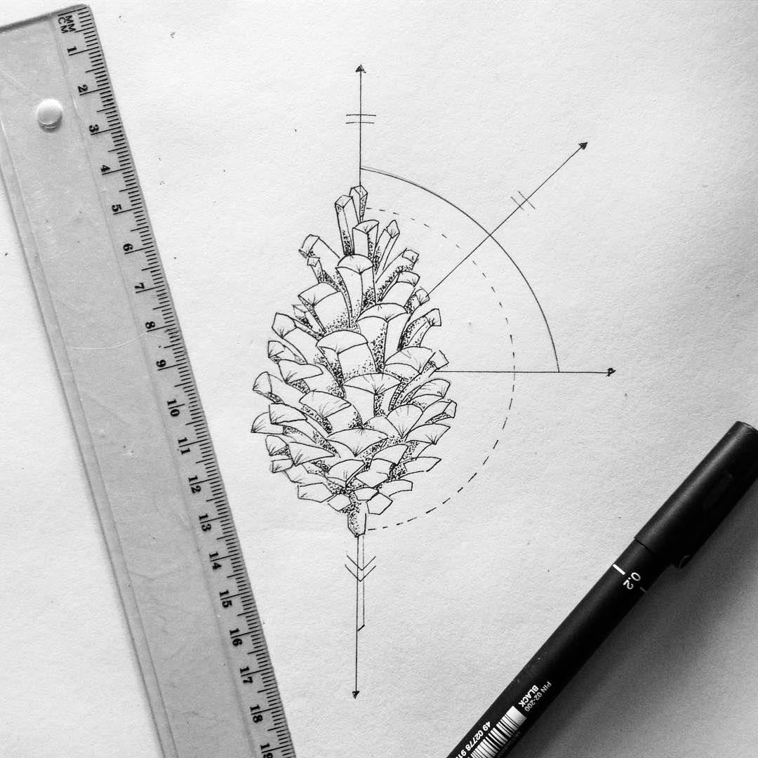 Geometric pine cone art illustration drawing geometric dotwork