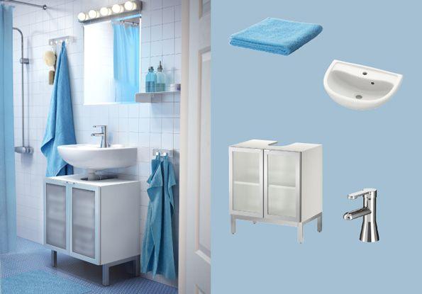LILL…NGEN meuble lavabo avec deux portes en verre trempé et IREVIKEN