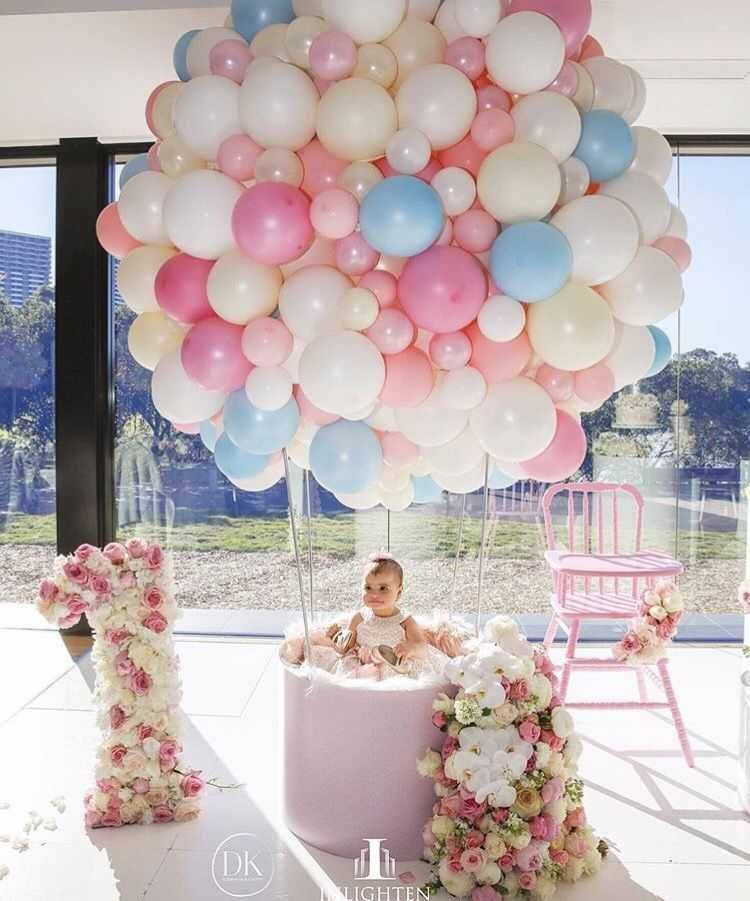 First 1st Birthday Number 1 Infant Boy Girl Filled Balloons Baby Party Decor