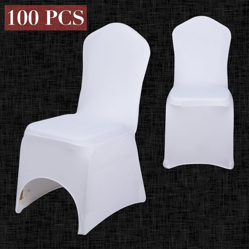 100PCS Wholesale Universal Elastic White Chair Covers For Wedding