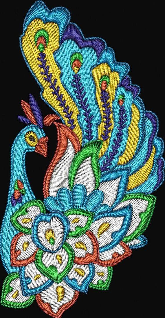 Jacobean Peacocks Machine Embroidery By Embroiderydesignsavi 899