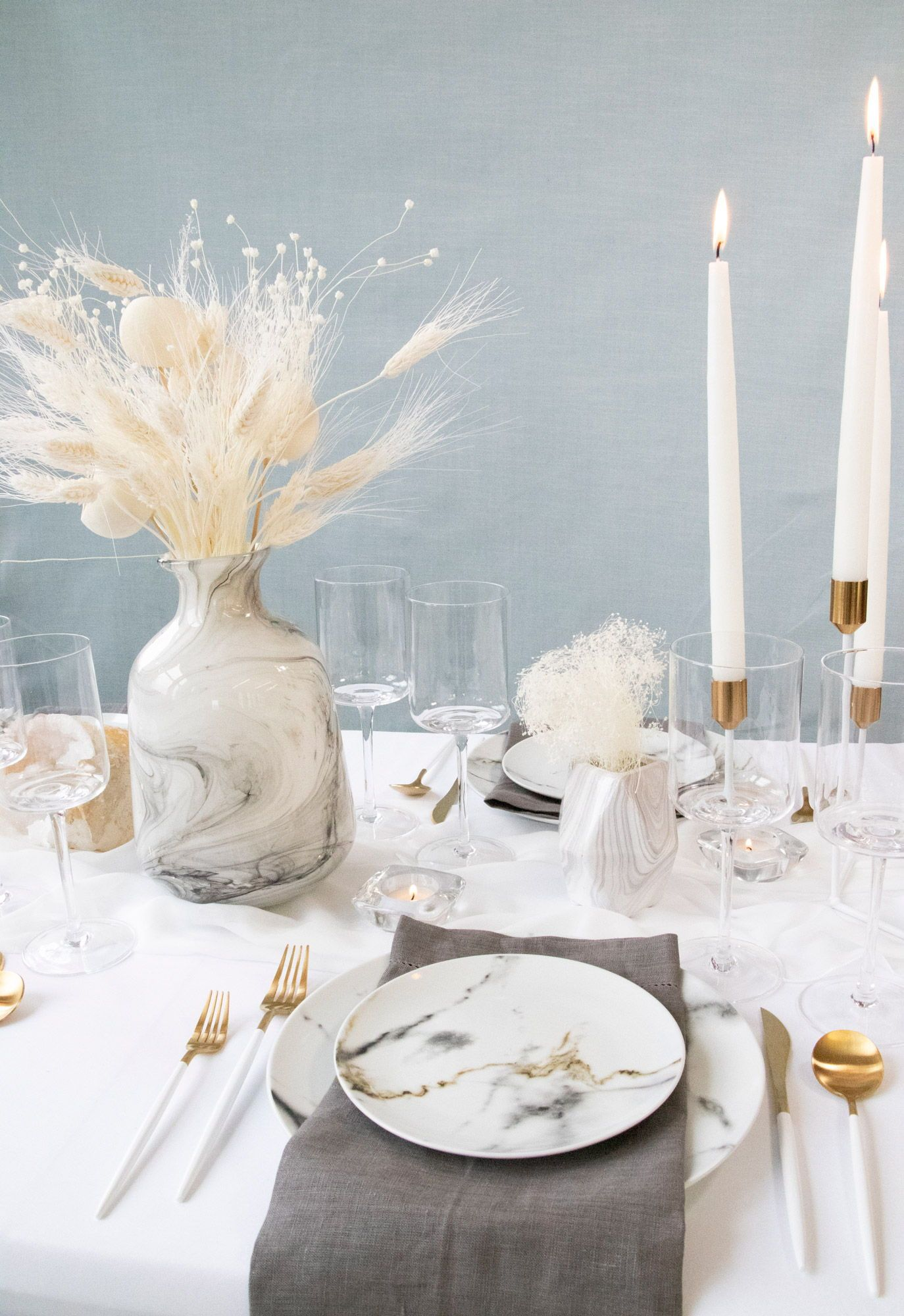 White Out Tablescape Buffet in 2020 Dinner party table