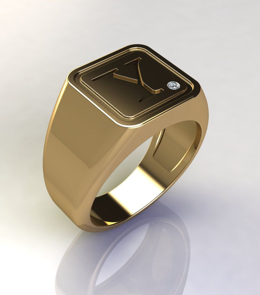 Square initial signet gold ring, Signet ring, Men signet ring, Male ...