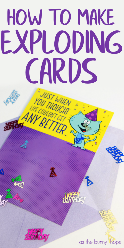 Watch The Confetti Fly When You Make Your Own Exploding Cards Diy Pop Up Cards Birthday Diy Pop Up Cards Exploding Box Card