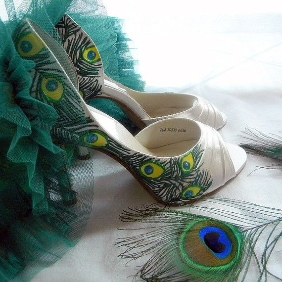 Wedding Shoes Peacock Feathers Painted Art Deco Peep By Norakaren 225 00 Handmade Wedding Shoes Peacock Shoes Ivory Wedding Shoes