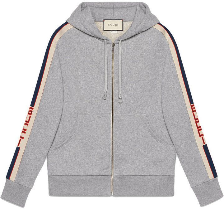 5beac43649f Gucci Hooded zip-up Sweatshirt With Gucci Stripe in 2019