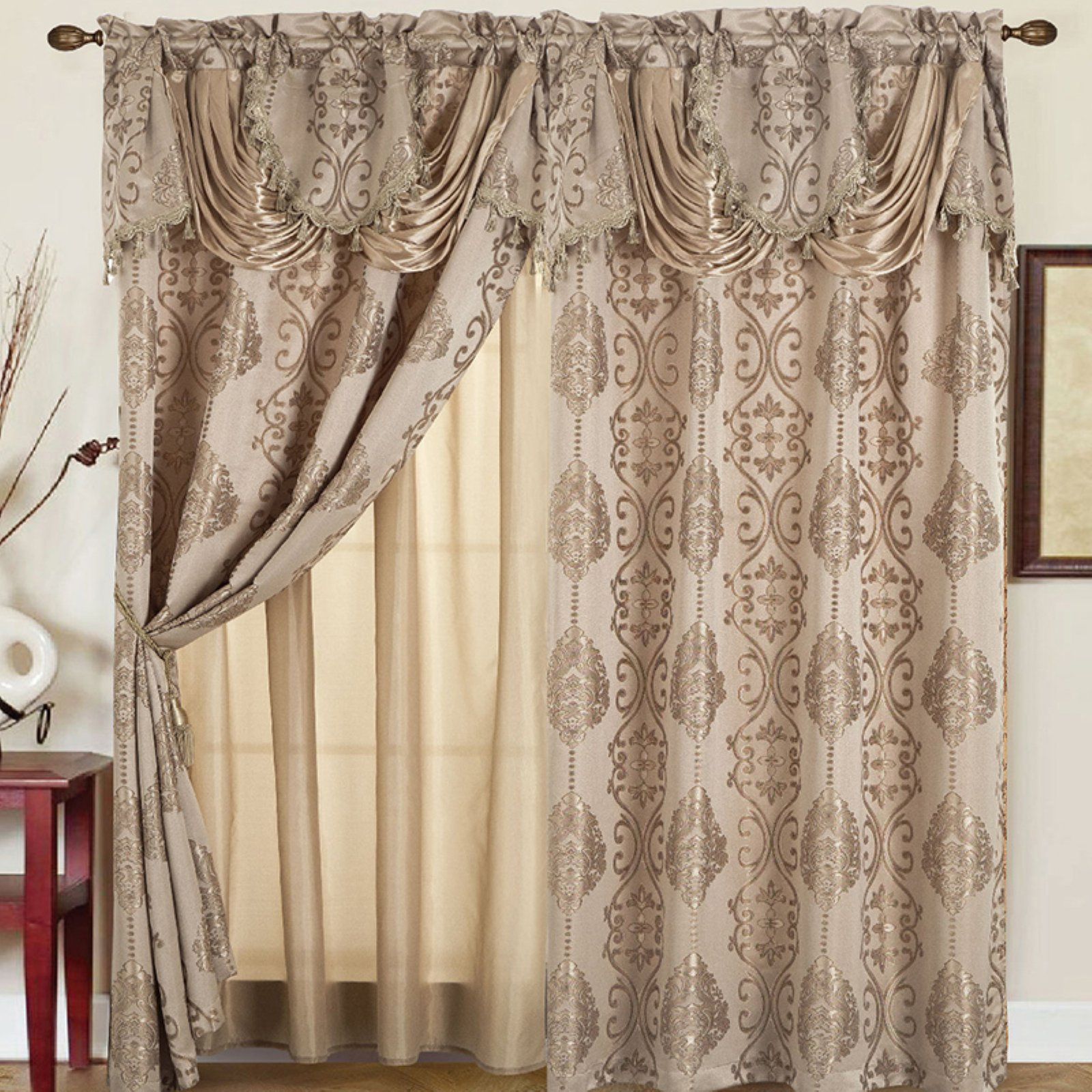 Rt Designers Collection Rosetta Jacquard Double Curtain Panel With Valance Taupe In 2020 Panel Curtains Curtains Insulated Curtains