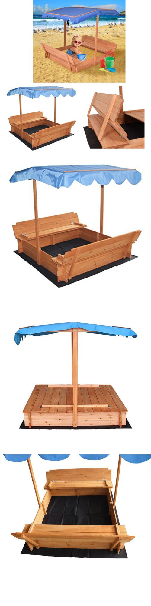 Sandbox Toys And Sandboxes 145990: Sandbox With Canopy And Two Bench Seats  For 3 To. Kids SandboxSandbox CoverRetractable ...