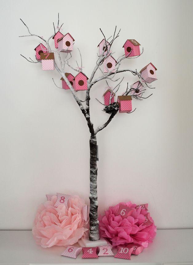 "Adventskalender ""Lovely Birdy"" in rosa mit Punkten, 19,80€ über DaWanda"