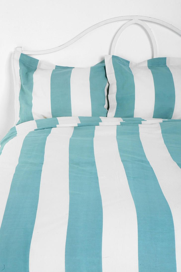 striped duvet and shams