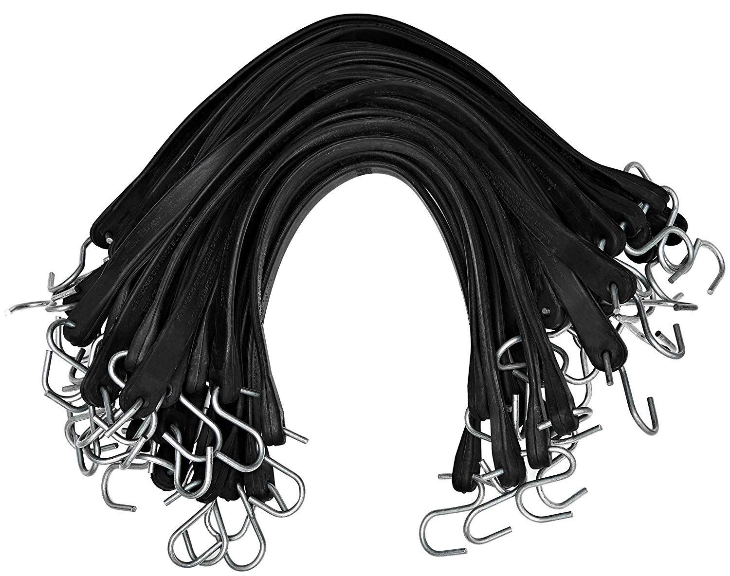 Kitchentoolz Rubber Tarp Straps Pack Of 50 Heavy Duty Natural Rubber Bungee Cords With Hooks 15 23 Max S Natural Rubber Bungee Cords Exterior Accessories