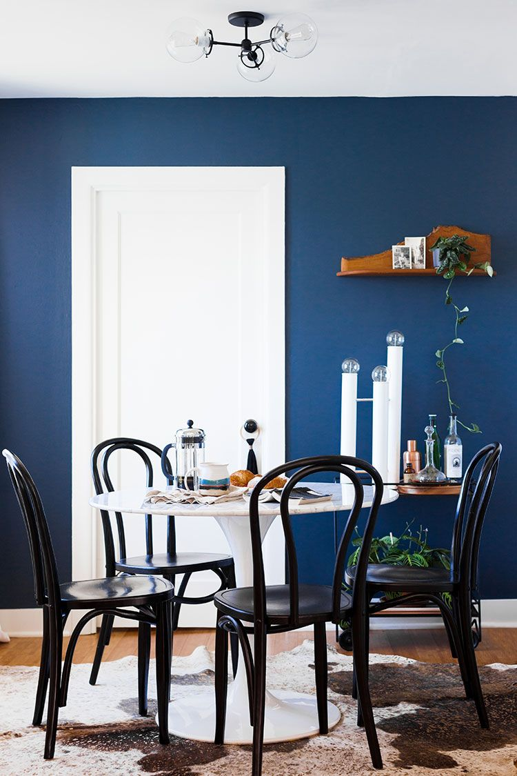 Dark Blue Living Room Dining Makeover Reveal Boho Meets Modern Styling Marble Table