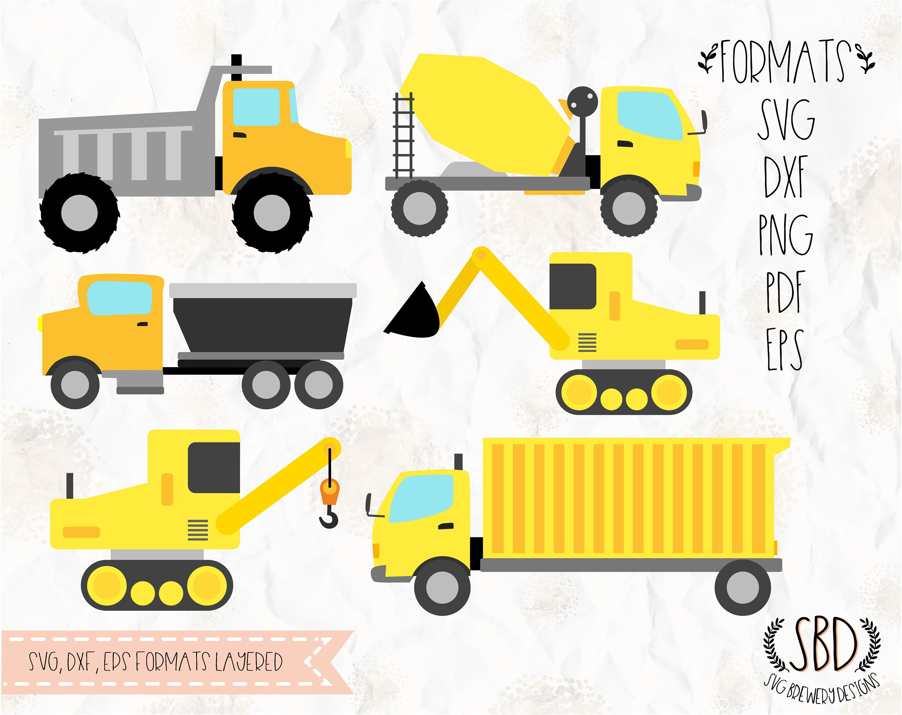 Trucks Construction bulldozer crane Birthday theme SVG PNG