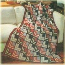 Fabulous Art Deco Crocheted Afghan By Bernat Pattern 2004 Haken