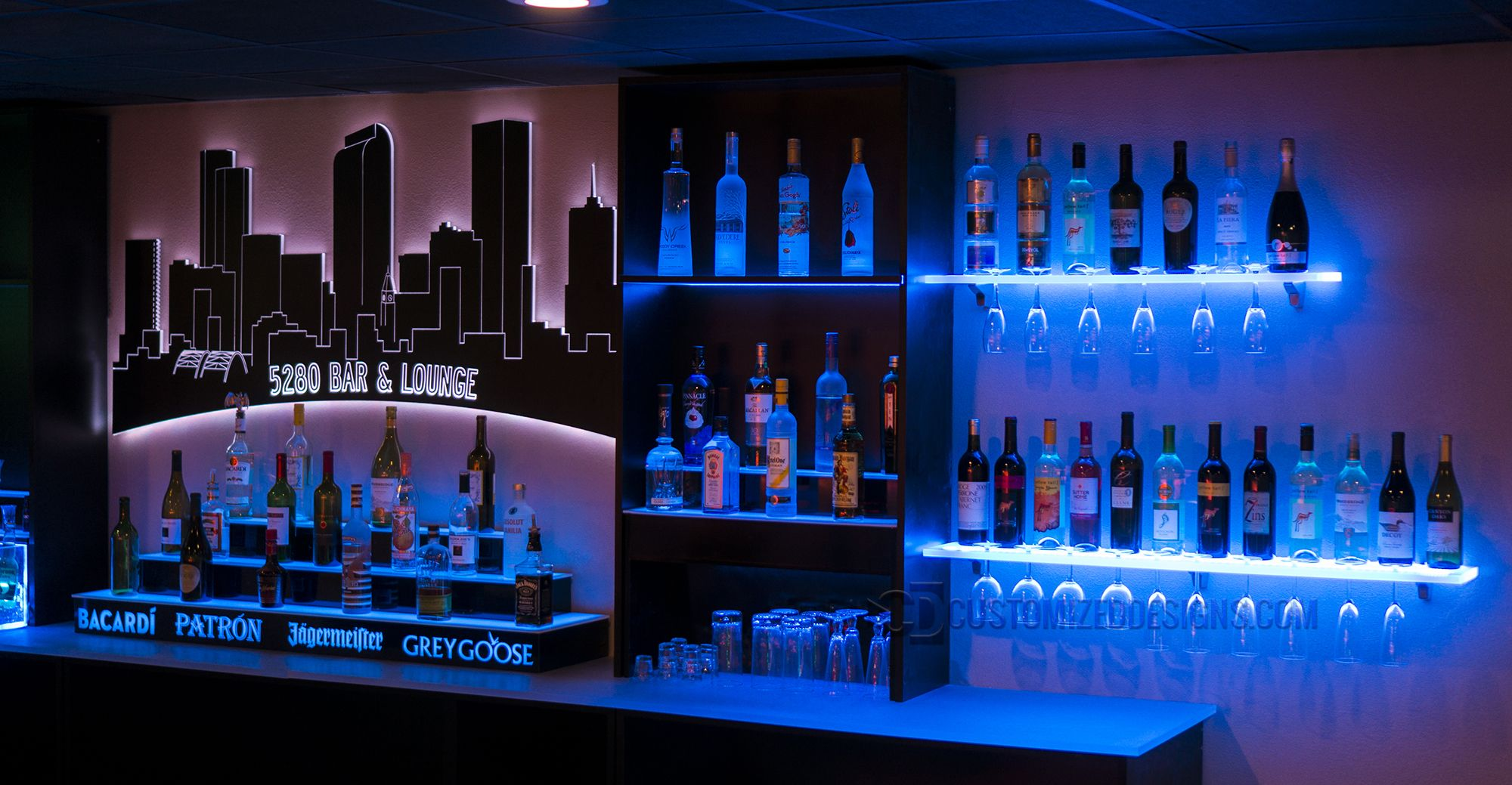 New Led Lighted Bar Shelves