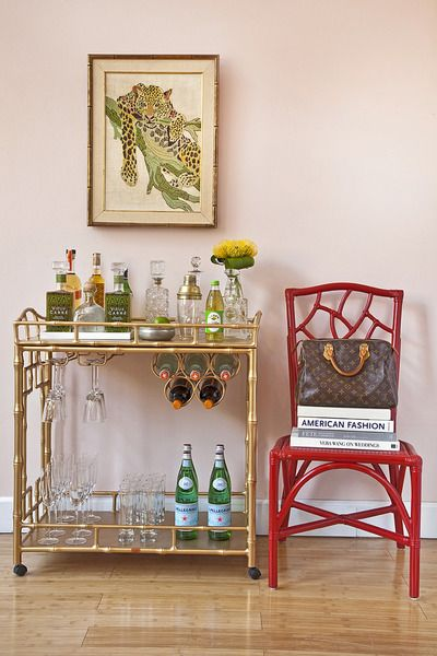New Gold Glass Bar Cart