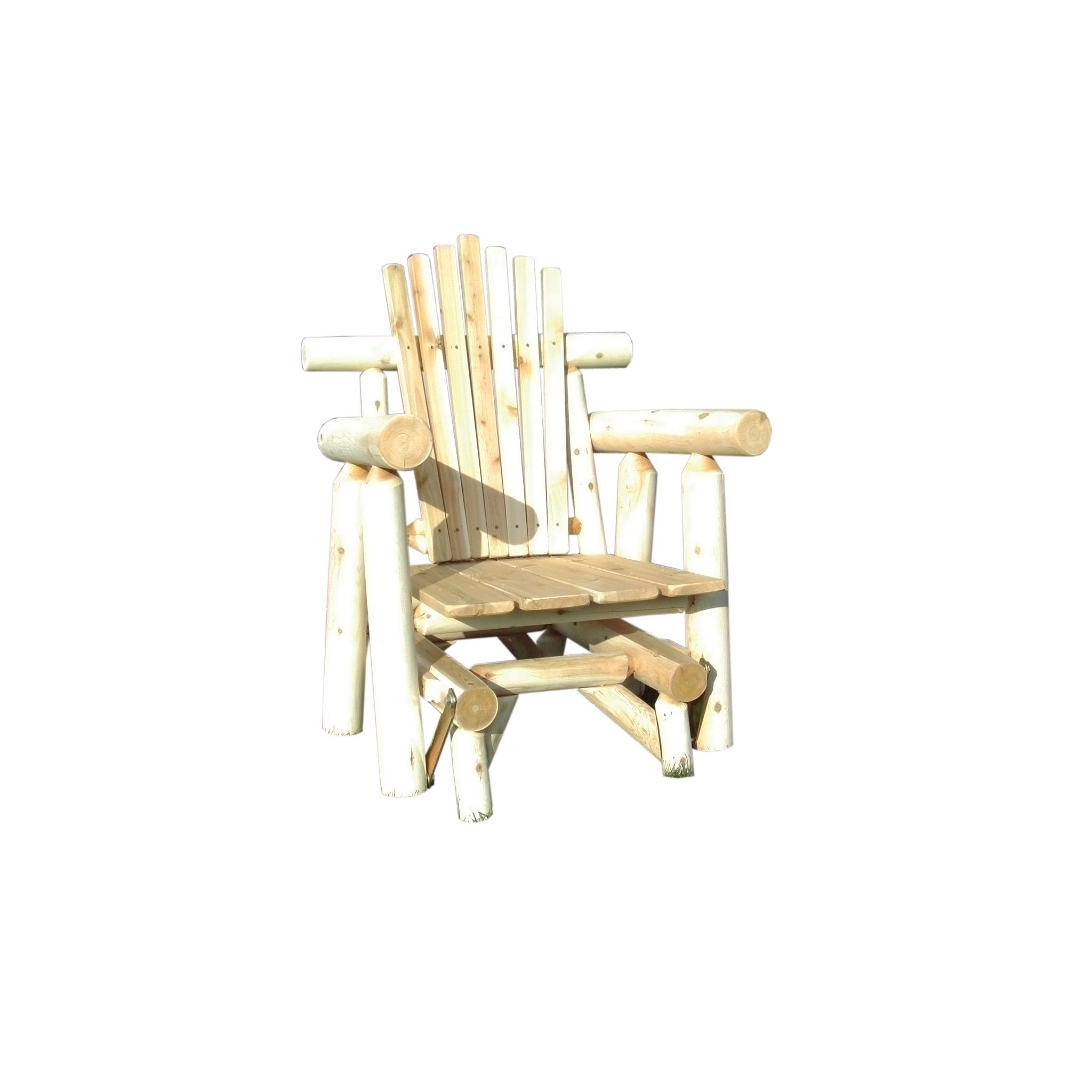 rustic outdoor white cedar log adirondack glider chair amish made