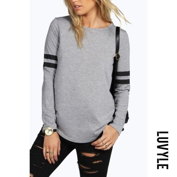 dba14b837  Luvyle -  Luvyle Round Neck Asymmetric Hem Patchwork T-Shirts - AdoreWe.