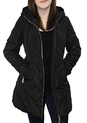 Pandella Womens 90 Down 800 Fill Power Black Hooded Long Down ...