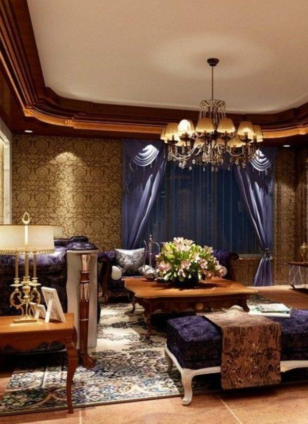 luxus wohnzimmer lila akzente kronleuchter tisch sofa Luxurious - wohnzimmer ideen lila