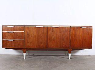 Sideboard Buffet Enfilade Meuble Vintage Design Scandinave Danemark A Liege Addict Teck Teak